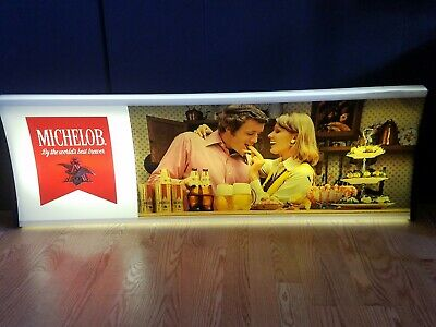 "VINTAGE 1970's MICHELOB BEER LIGHTED BAR WALL SIGN LIGHT 49"" X 16"" MAN CAVE"