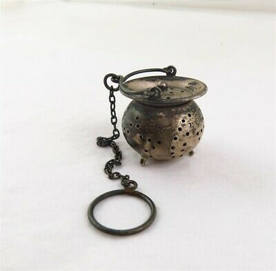 Antique Sterling Silver Miniature Caldron Tea Infuser Strainer