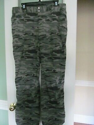 Columbia Green Black Gray Camo Pants Omni-Shade Lightweight Hiking Pants Size 12