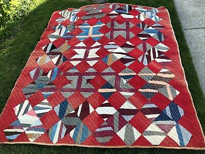 "LARGE Antique/Vintage handquilted Quilt, Triangles 76"" x 88"" sq, Blue/red/brown"