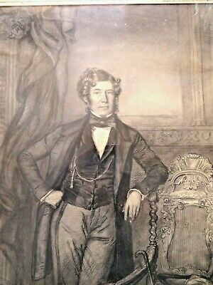 Antique 19 Century Framed Drawing of A British Nobleman