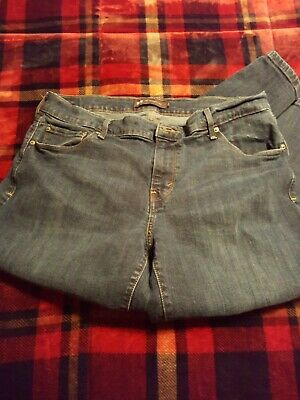Levis 505 Straight Leg Jeans Blue Stretch Denim Womens Size 14 L Long Red Tab