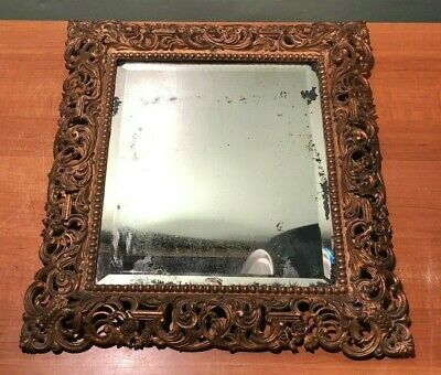 Antique Beveled Mirror In Ornate Cast Iron Frame- Scroll Flower Bead