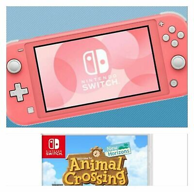 Nintendo Switch Lite Console Coral (Pink) with Animal Crossing Game Brand New