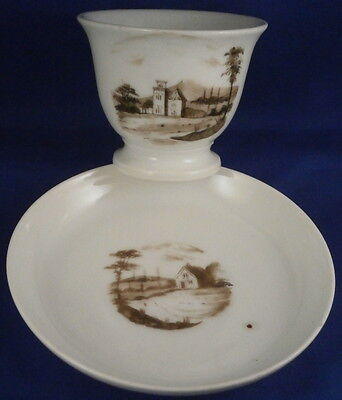 Antique Early 19thC American Porcelain Tucker Philadelphia Scenic Cup & Saucer