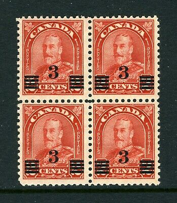 CANADA Scott 191 - NH - BLK of 4 - 3¢ on 2¢ Deep Red Arch/Leaf Provisional (071)