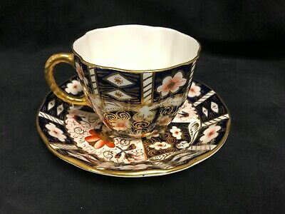 Royal Crown Derby Traditional Imari #2451 Fine Bone China Tea Cup & Saucer