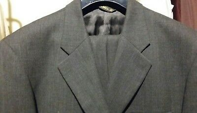 Extra Tall BACHRACH 2PC 3BTN Men's Gray Suit Size 42XL Pants 36/34 100% Wool