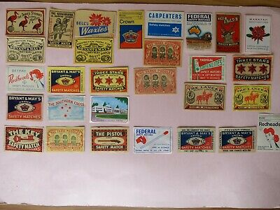 29 x Vintage Matchbox Labels - Made In Australia all different