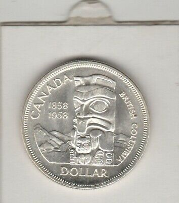 1958   Newfoundland Canada  Commemorative Dollar  Qe 11   Columbia