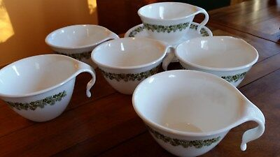 Set of Six Crown of USA Cups and Saucers in Corelle Design Green Floral Pattern