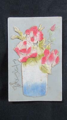1910 Circa Postcard with Raised Flower Decoration Written on Flower Printed in G