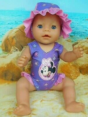 "Dolls clothes for 17"" Baby Born Doll~MINNIE MOUSE PURPLE STARS~ SWIMMING COSTUME"