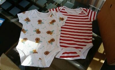 6 - 9 months Baby Vests Lions Roar & Red White Stripe 100% Cotton Brand New x 2