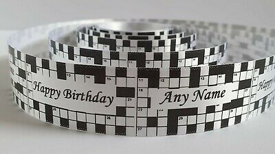 Happy Birthday crossword themed Beautiful Satin Ribbon available in 17 colours