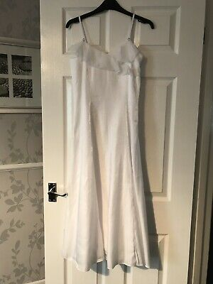 Tigerlily @ Debenhams White Shimmer Chiffon Ruffled Dress Age 13 Bridesmaid Vgc