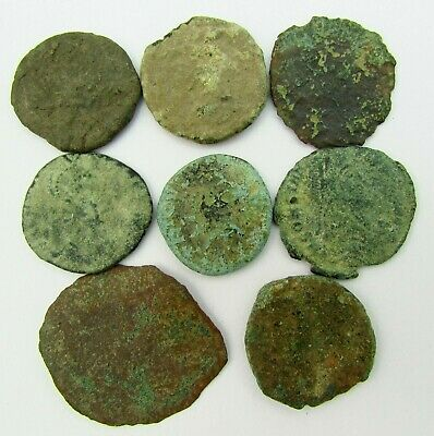 LOT of 8 ROMAN BRONZE COINS TO IDENTIFY circa 100 - 300 AD (242)