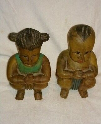 Vintage Chinese Hand Carved & Painted Wooden Sitting Boy & Girl Buddha Figures.