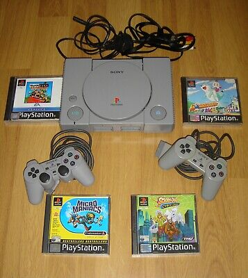 Sony Playstation 1 Console  + 2 Official Controllers & 4 Kids Ps1 Games Bundle