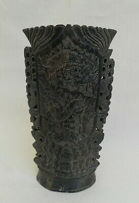 An Antique Carved Dragon Design Chinese Asian Soapstone Vase Brush Pot 6.5""