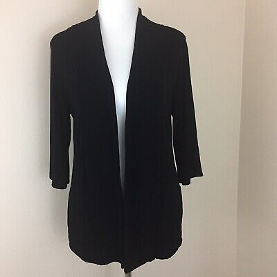 Chicos Travelers Top Size 1 Black Open Front Jacket Acetate