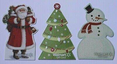 3 Walmart Christmas Carved Empty Gift Card Collectible Lot USA New