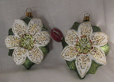2 Christmas Tree Poinsettas Ornament Home For The Holidays Made In Germany