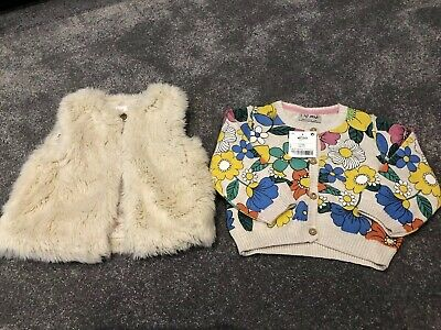 Girls Fluffy Cream Body Warmer Gilet & New Next Cardigan 9-12 Months