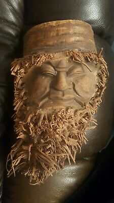Vintage Hand Carved Chinese bamboo root Face, 9x6, Old Man w beard, hat, GC {009