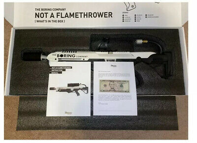 BRAND NEW!  NOT-A-FLAMETHROWER - THE BORING COMPANY w/ Letter and $5
