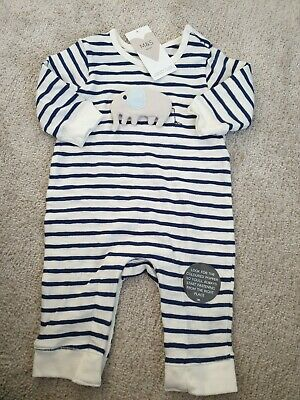 Marks & Spencer baby Boys Blue Stripe Romper With Elephant. Super Soft Brand New