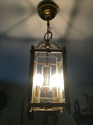 French Antique Brass square Glass Hall Lantern 2 Candle Lights Ornate Frame