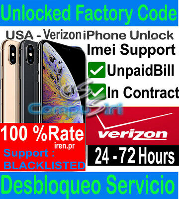 Verizon UNLOCK SERVICE FAST IPhone  XS XS MAX XR X 8 PREMIUM