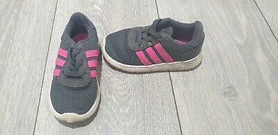 Baby Girls Adidas Grey And Pink trainers Size UK 6