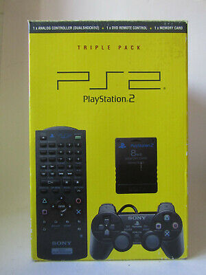 Triple Pack (Sony PlayStation 2, PS2) Dualshock 2, Memory Card, DVD Remote