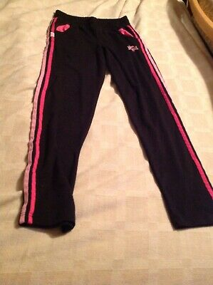 LONSDALE Girls Black And Pink Tracksuit Bottoms Age 13
