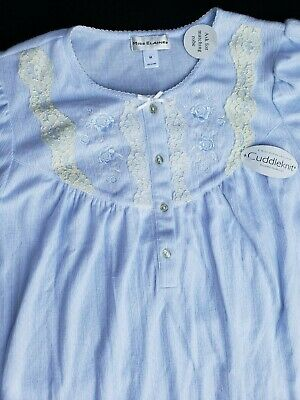 NWT Miss Elaine Nightgown Cuddleknit Blue Long Gown Embroidered Yoke Lace Button