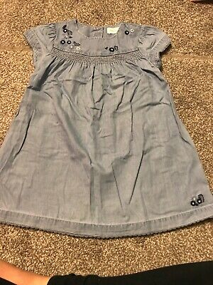 Girls Next Soft Light Blue Denim Embroidered Flower Dress 2-3 Spring Gorgeous