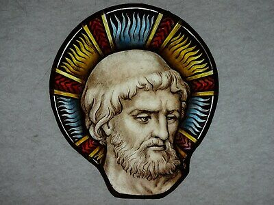 Beautiful Stained glass HEAD Hand painted Kiln fired 175x150 mm Antique style
