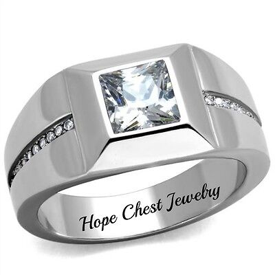 HCJ SILVER STAINLESS STEEL BYPASS GARLAND CZ FASHION RING SIZE 7 8