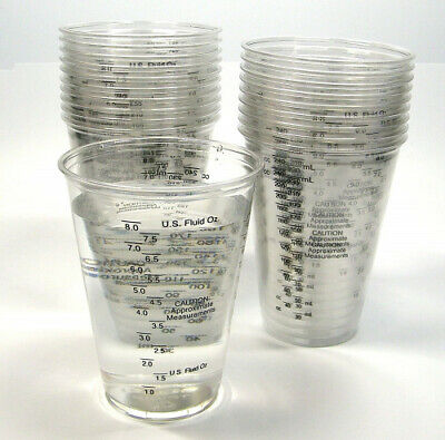 20 240ml Disposable Graduated Clear Plastic Cups for Mixing Paint, Stain,