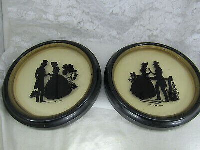 Pair Vintage Man and Women Silhouette Pictures 1936 Glass Reverse Painting.