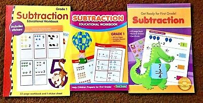 (3) TRIO LOT SUBTRACTION 1st First Grade Homeschool Workbooks Grade 1 Ages 6+