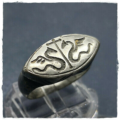** WINGED SNAKES betveen CROSS **ancient SILVER  BYZANTINE or MEDIEVAL RING !