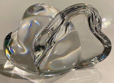 RARE! Steuben Crystal Art Glass Double Intertwined Hearts Paperweight Signed