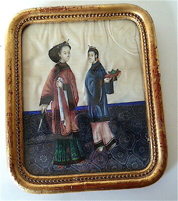 Peinture Sur Soie Chine Xix Personnages Chinese Chinoise China