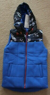 Boys Puffer Zip Hooded Vest Warm Hoodie Myer Milkshake Sz 7 Spaceship Space NEW