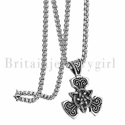 Stainless Steel Celtic knot Magic Triquetra Pendant Necklace Trinity For Men Boy