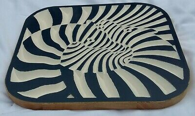 Wood Wall Hanging Zebra Montage Carving Illusion 30cm