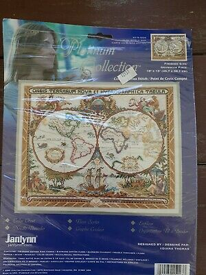 Janlynn Counted Cross Stitch Kit- Never Used - 'Olde World Map'